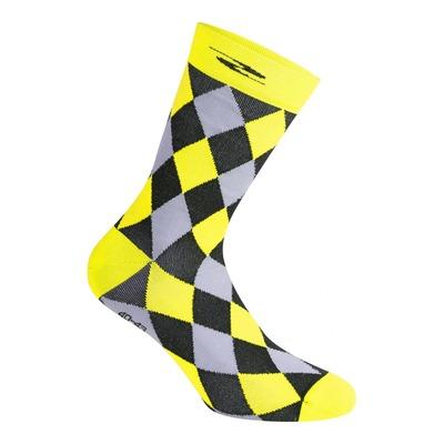 Chaussettes Gist Damier hautes (26cm) noires/grises/jaunes fluo