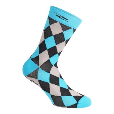 Chaussettes Gist Damier hautes (26cm) noires/grises/bleues