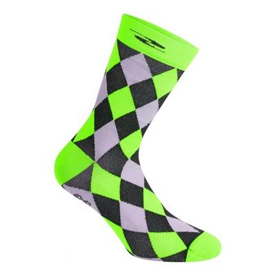 Chaussettes Gist Damier hautes (26cm) noires/grises/vert fluo
