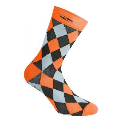 Chaussettes Gist Damier hautes (26cm) noires/grises/orange fluo
