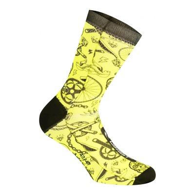 Chaussettes Gist Tatoo mi-hautes (16cm) jaunes fluo