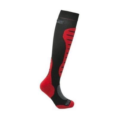 Chaussettes hautes Sixs Mots mérinos noir/rouge