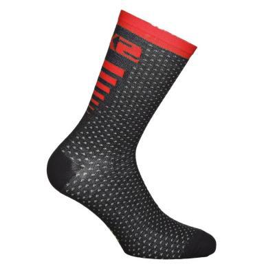 Chaussettes Sixs Arrow mérinos noir/rouge