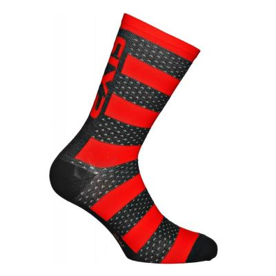 Chaussettes Sixs luxury mérinos noir/rouge