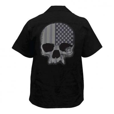 Chemise de travail homme Lethal Threat Tête de mot USA noir/grise