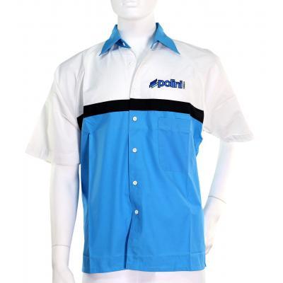 Chemise Polini Race Team Blanc Bleu Brodée