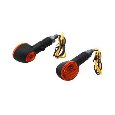 Clignotants Replay micro ovale noir/ambre avec témoin base courte (paire)