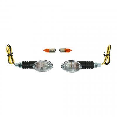Clignotants Replay mini ovale à ampoule blanc / noir