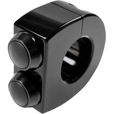 Commodo bouton poussoir double Motogadget switch Ø1'' (2,5 cm) bouton chrome/boîtier noir