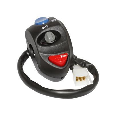 Commodo electrique gauche noir universel alu, klaxon, feu, clignotants, appel de phare