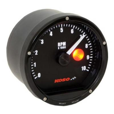 Compte-tours Koso TNT-01R Ø75 mm 10 000 tr/min noir avec shiftlight