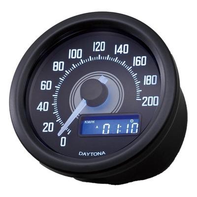 Compteur de vitesse Daytona VELONA 60 noir 200 km / h / MPH