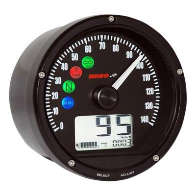 Compteur de vitesse Koso Ø75 mm fond noir 140 km/h