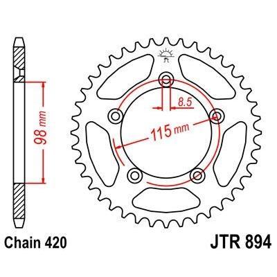 Couronne JT Sprockets Acier pas 420 46 dents - Pour KTM SX 65 98-21