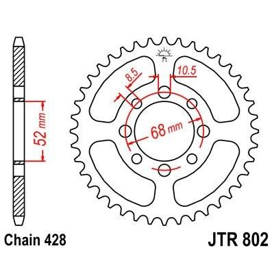 Couronne JT Sprockets Acier pas 428 34 dents - Pour Suzuki JR 80 82-04