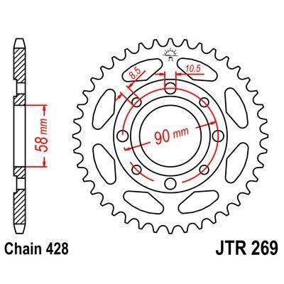 Couronne JT Sprockets Acier pas 428 35 dents - Pour Honda H100 82-83