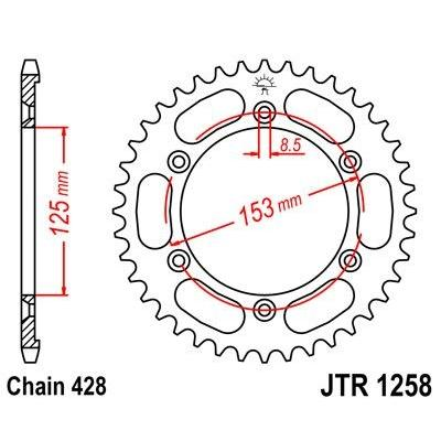 Couronne JT Sprockets Acier pas 428 54 dents - Pour Honda XR 125 L 03-07