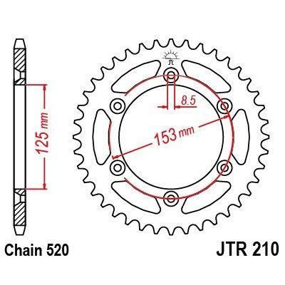 Couronne JT Sprockets Acier pas 520 52 dents - Pour Honda CR 125 R 03-07