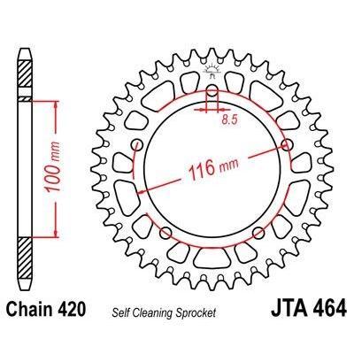 Couronne JT Sprockets Aluminium pas 420 44 dents - Pour Kawasaki KX 60 85-01