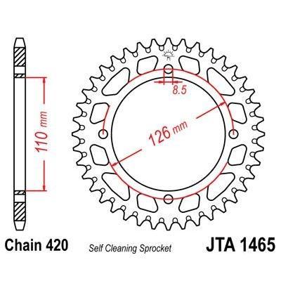 Couronne JT Sprockets Aluminium pas 420 46 dents - Pour Kawasaki KX 65 00-01