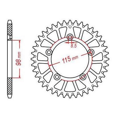 Couronne JT Sprockets Aluminium pas 420 48 dents - Pour KTM SX 65 12-17