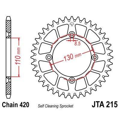 Couronne JT Sprockets Aluminium pas 420 49 dents - Pour Honda CR 80 R 85-02