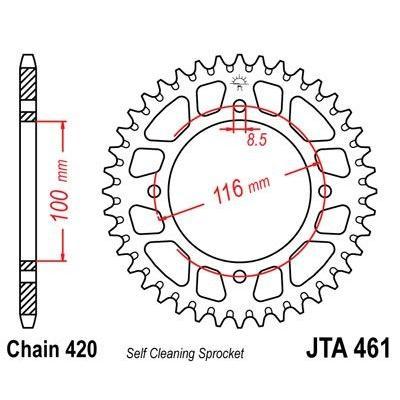 Couronne JT Sprockets Aluminium pas 420 52 dents - Pour Kawasaki KX 100 89-90