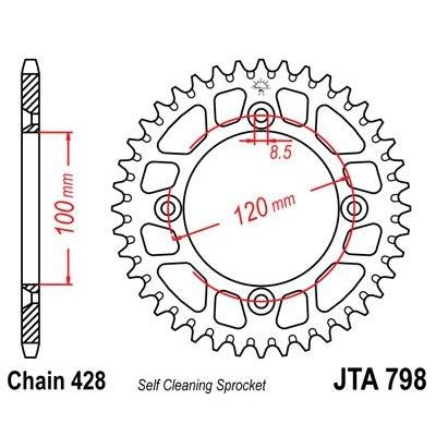 Couronne JT Sprockets Aluminium pas 428 50 dents - Pour Suzuki RM 80 86-88