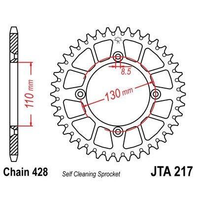Couronne JT Sprockets Aluminium pas 428 55 dents - Pour Honda CR 85 R 05-07