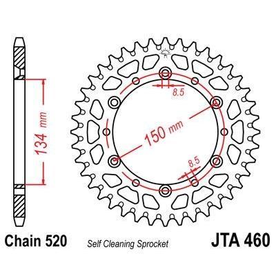 Couronne JT Sprockets Aluminium pas 520 46 dents - Pour Kawasaki KX 500 84-85