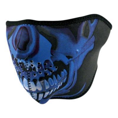 Demi-masque Zan headgear skull Chrome bleu/noir