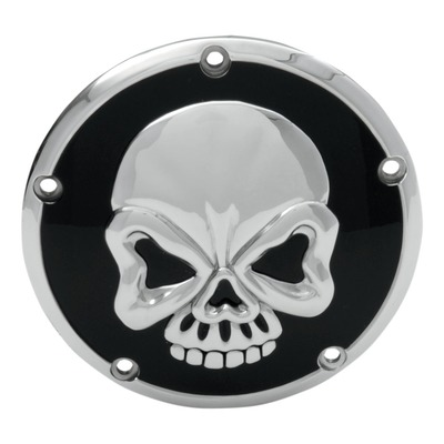Derby cover Drag Specialties 3D skull Harley Davidson Big Twin 99-18 noir/chrome