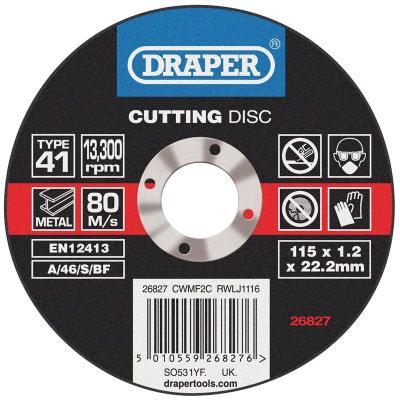 Disque à tronçonner Draper Ø115mm – ép 1,2mm (1pièce)