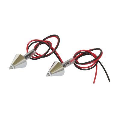 Feu arrière universel Replay pour plaque conique chrome avec led rouge (paire)