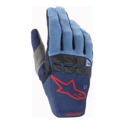 Gants cross Alpinestars Racefend bleu foncé/bleu powder/bright rouge