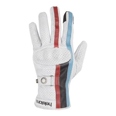 Gants cuir Helstons Eagle Air blanc/bleu/noir/rouge