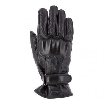 Gants cuir Overlap Croms noir