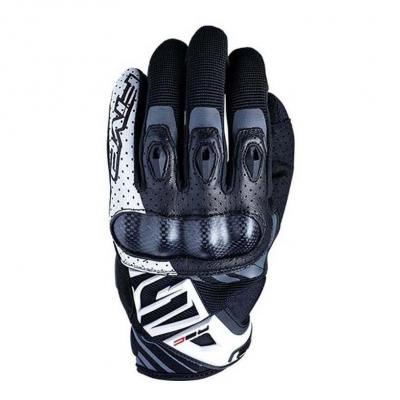 Gants cuir/textile Five RS-C noir/blanc
