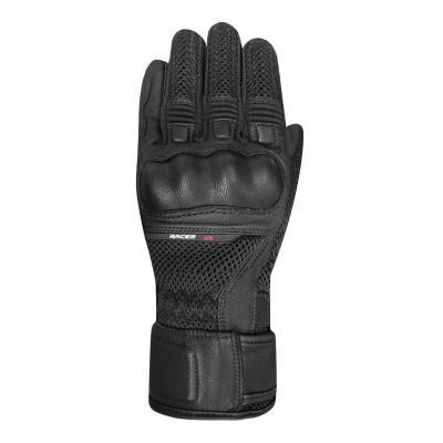 Gants cuir/textile Racer Octo noir/noir