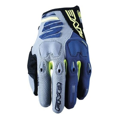 Gants enduro Five E2 gris/jaune fluo/navy