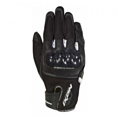 Gants été textile/cuir Ixon RS Rise Air noir/blanc