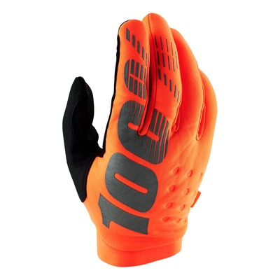 Gants moto cross 100% Brisker orange fluo CE