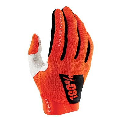 Gants moto cross 100% Ridefit orange fluo