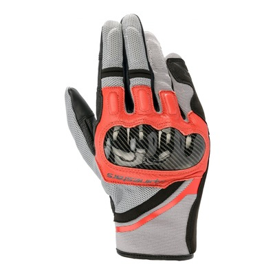 Gants textile Alpinestars Chrome Ash gris/noir/bright rouge