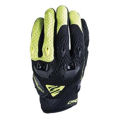 Gants textile/cuir Five Stunt Evo Airflow noir/jaune