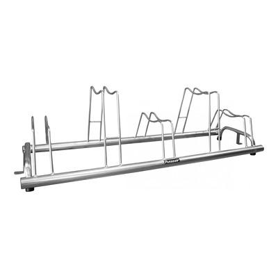 Garage à vélo au sol type rail avec décalage compatible freins à disque (5 vélos)