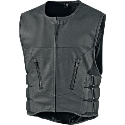 Gilet en cuir Icon Regulator D3O Stripped noir
