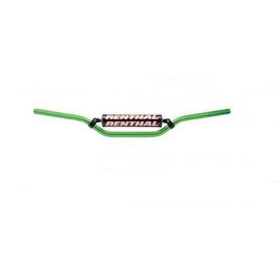 Guidon MX Renthal Classic vert cintrage Carmichael avec barre de renfort Ø22mm
