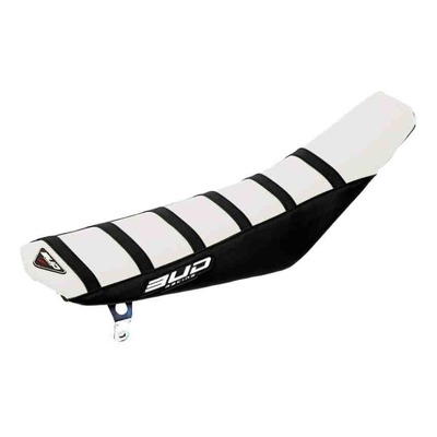 Housse de selle blanche/noire/bandes noire Bud Racing Full Traction pour Husqvarna FC 450 14-15