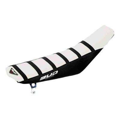 Housse de selle blanche/noire Bud Racing Full Traction pour KTM SX 85 18-22